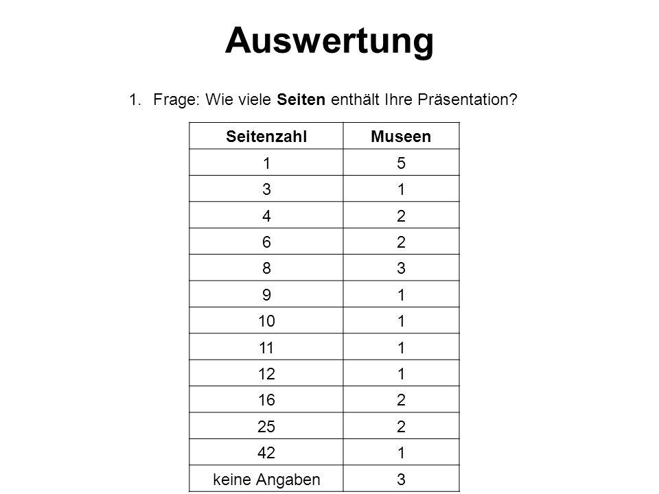 1.Frage: Wie viele Seiten enthält Ihre Präsentation.