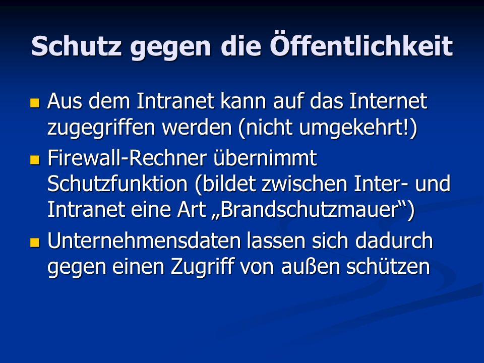 Schutz gegen die Öffentlichkeit Aus dem Intranet kann auf das Internet zugegriffen werden (nicht umgekehrt!) Aus dem Intranet kann auf das Internet zu