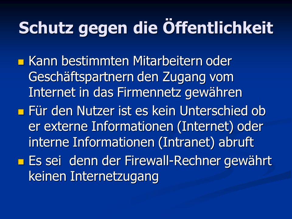 Schutz gegen die Öffentlichkeit Kann bestimmten Mitarbeitern oder Geschäftspartnern den Zugang vom Internet in das Firmennetz gewähren Kann bestimmten