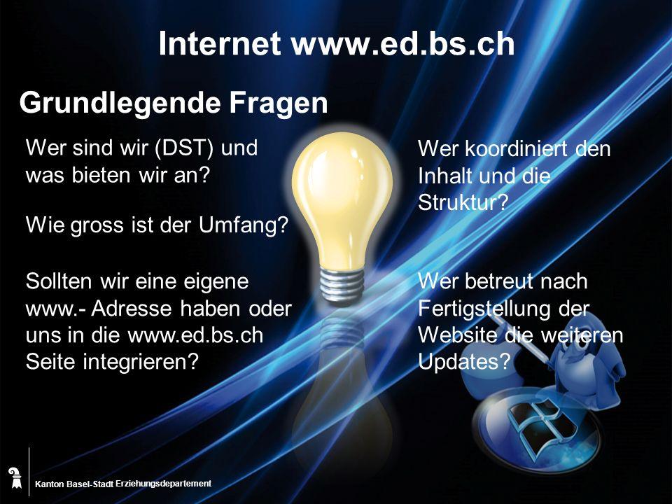 Kanton Basel-Stadt Internet www.ed.bs.ch Grundlegende Fragen Wer koordiniert den Inhalt und die Struktur.
