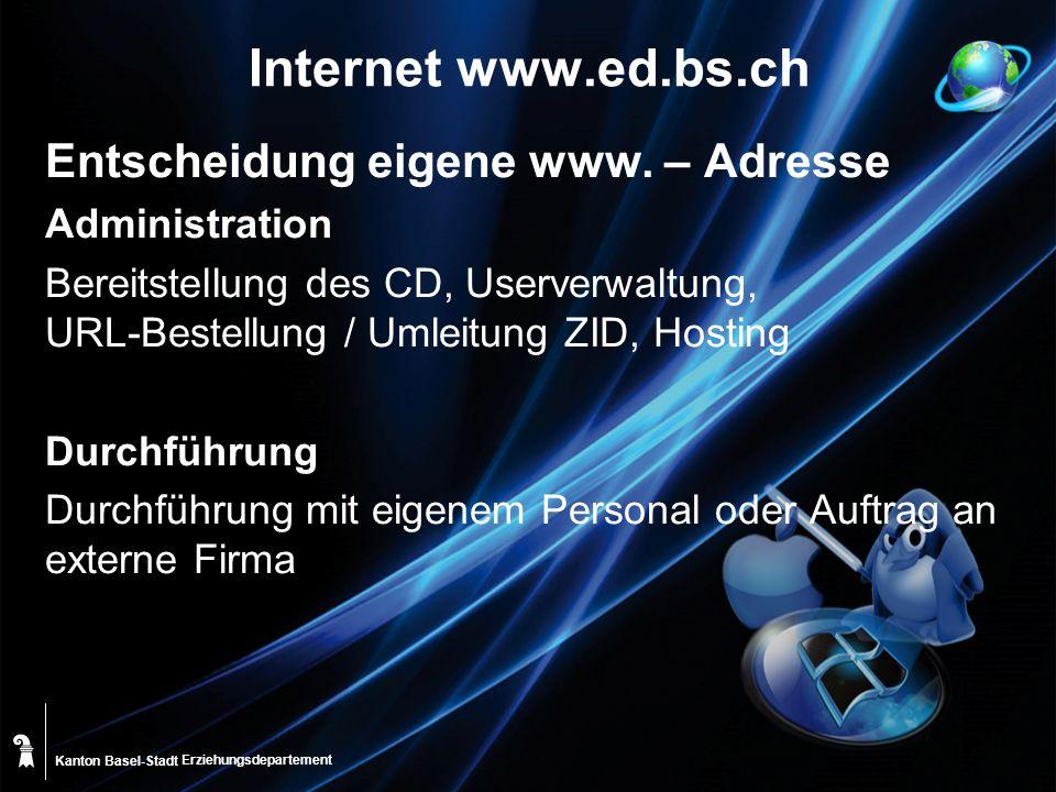Kanton Basel-Stadt Internet www.ed.bs.ch Entscheidung eigene www.