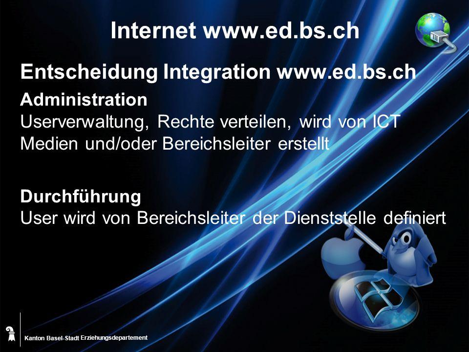 Kanton Basel-Stadt Internet www.ed.bs.ch Entscheidung Integration www.ed.bs.ch Administration Userverwaltung, Rechte verteilen, wird von ICT Medien und/oder Bereichsleiter erstellt Durchführung User wird von Bereichsleiter der Dienststelle definiert Erziehungsdepartement