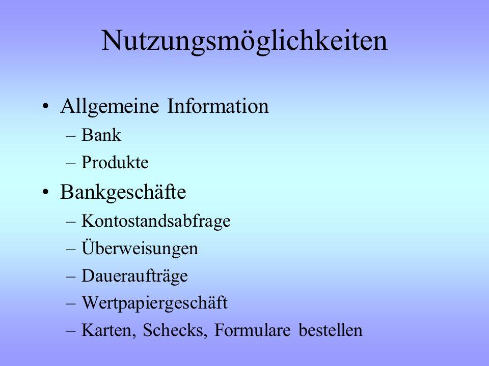 Das erwartet Sie heute : Nutzungsmöglichkeiten des Internet-Bankings Gefahren im Internet Sicherheitsverfahren –Symmetrischer / Asymmetrischer Schlüss