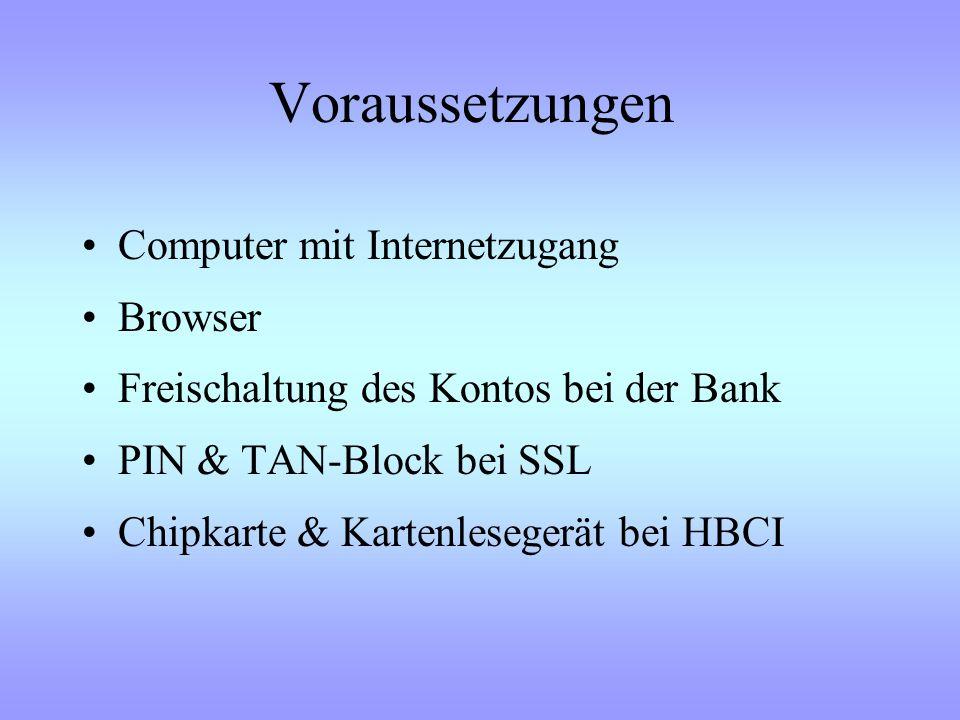 Nutzungsmöglichkeiten Allgemeine Information –Bank –Produkte Bankgeschäfte –Kontostandsabfrage –Überweisungen –Daueraufträge –Wertpapiergeschäft –Kart