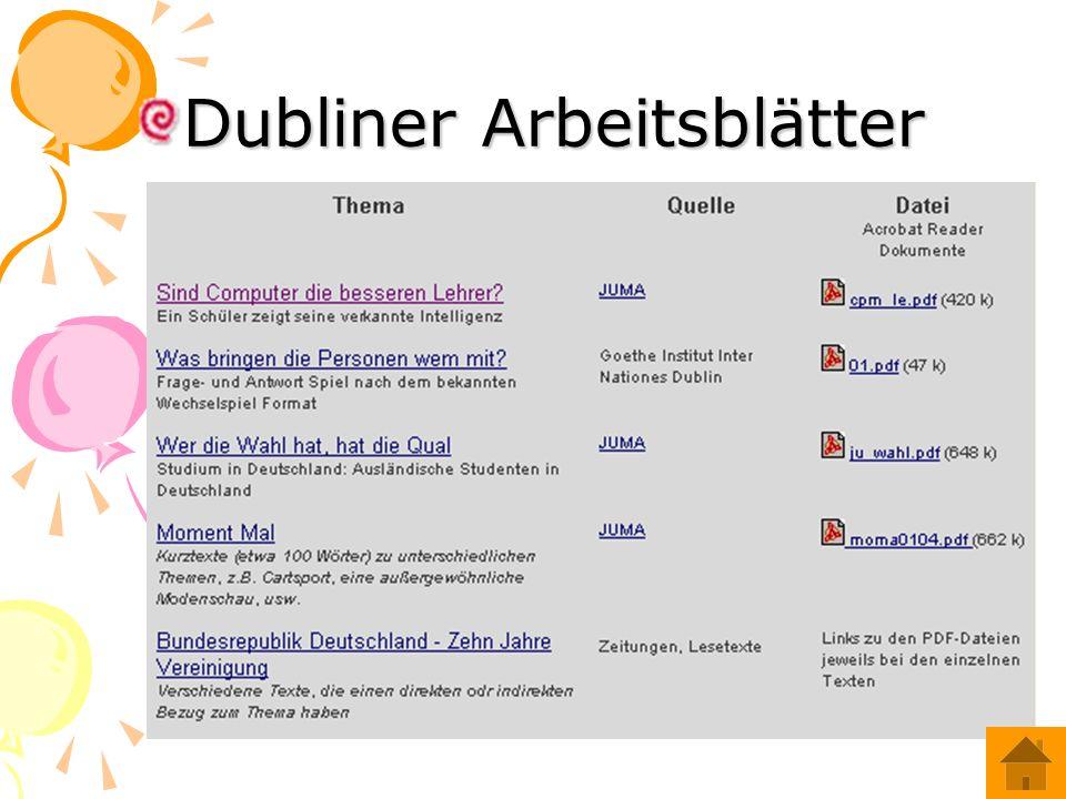 Dubliner Arbeitsblätter