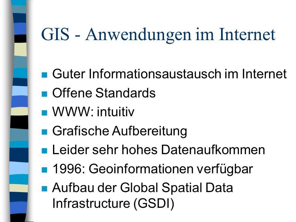 GIS - Internetportale n Verschiedene Angebotsformen –Geodatenshops/-server/-warehouses –Geo-Metadatenserver –Internet-Mapserver n Geo-Portale –Im Aufbau