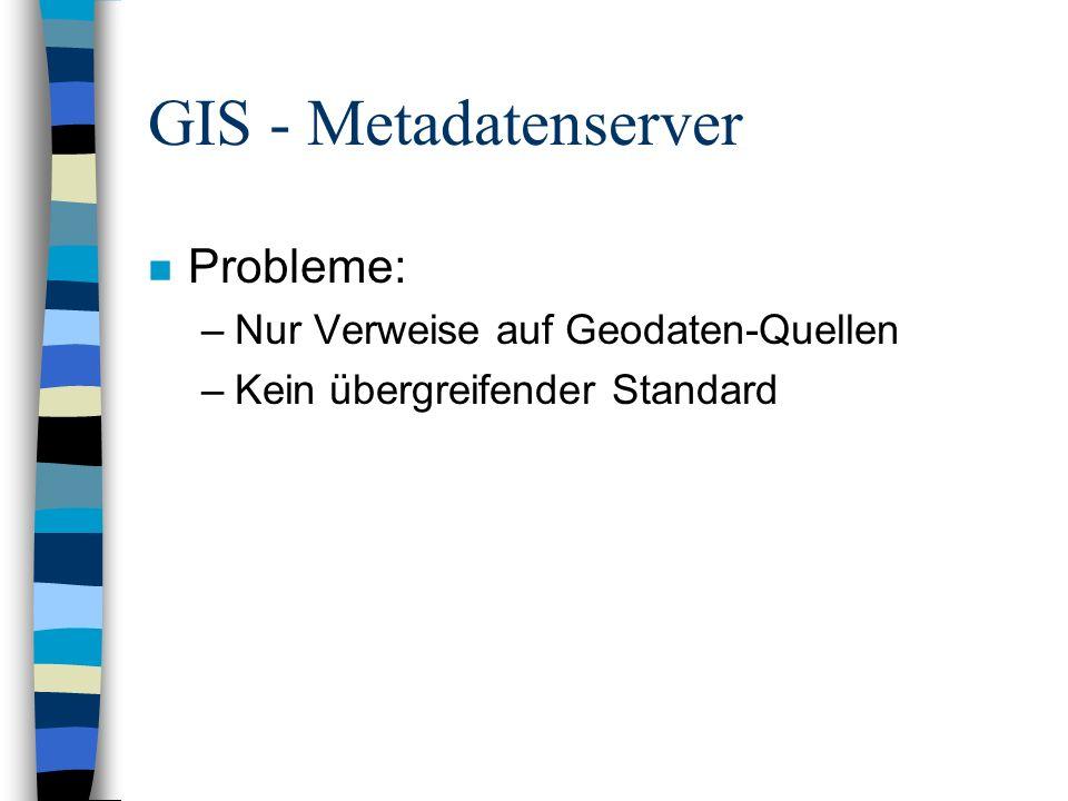 GIS - Internet-Mapserver n Sammlung Geodaten verschiedener Quellen n Proprietäre Schnittstelle ist Voraussetzung
