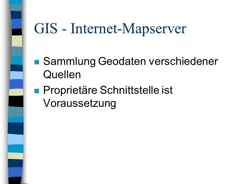 GIS - Geo-Portale n Zentrale Sammlung/Präsentation aller nötigen Informationen und (Geo-) Daten n Benutzerfreundlichkeit wichtig n Zusatzdienste, wie –Hilfestellungen –Communities –Anpassung an Benutzer –Filterung/Suche über Metadaten