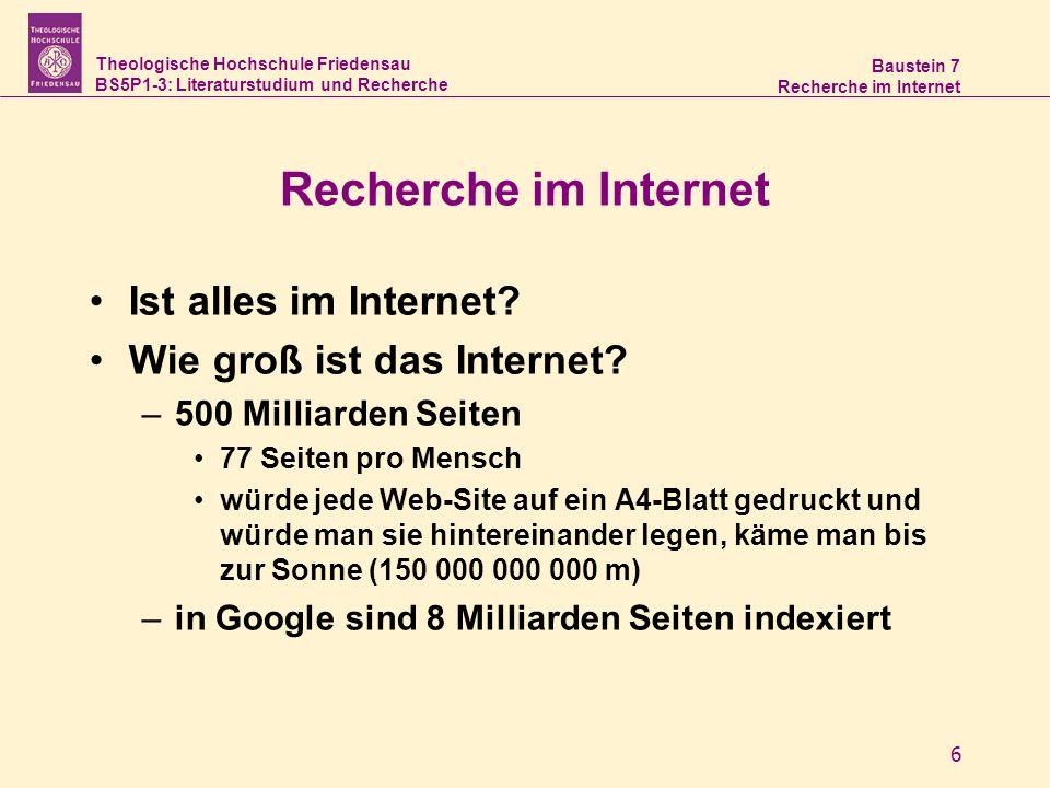 Theologische Hochschule Friedensau BS5P1-3: Literaturstudium und Recherche Baustein 7 Recherche im Internet 7 Deep Web –(für Suchmaschinen) unsichtbares Netz Einträge in Datenbanken Bibliothekskataloge Wissenschaftliche Informationsquellen –99,8% des Internet gehören zum Deep Web, sind also verborgen
