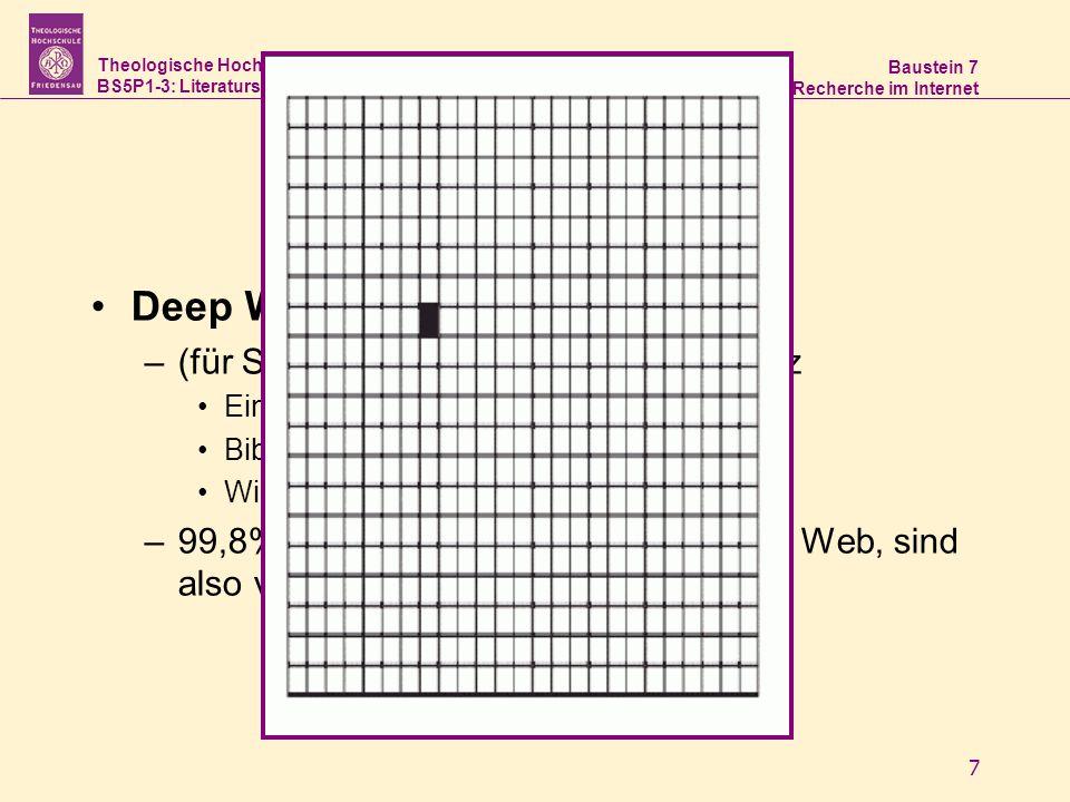 Theologische Hochschule Friedensau BS5P1-3: Literaturstudium und Recherche Baustein 7 Recherche im Internet 7 Deep Web –(für Suchmaschinen) unsichtbar