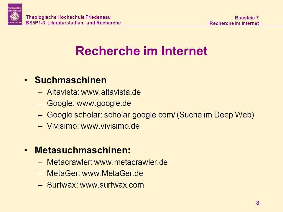 Theologische Hochschule Friedensau BS5P1-3: Literaturstudium und Recherche Baustein 7 Recherche im Internet 9 Suchtechnologien –automatisches Ranking Wie oft kommt ein Wort im Text vor.