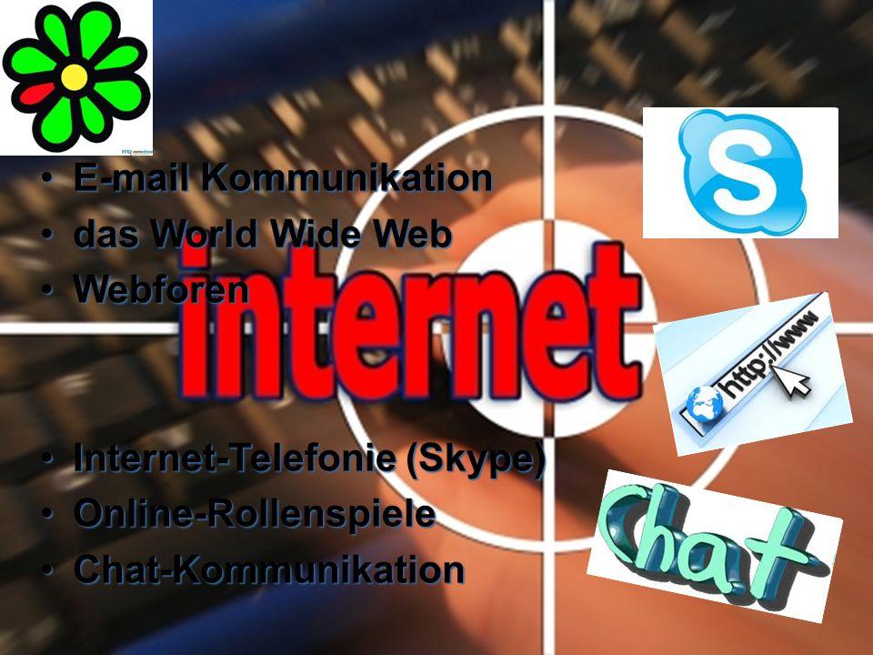Kommunikationsmittel im E-mail KommunikationE-mail Kommunikation das World Wide Webdas World Wide Web WebforenWebforen Internet-Telefonie (Skype)Internet-Telefonie (Skype) Online-RollenspieleOnline-Rollenspiele Chat-KommunikationChat-Kommunikation