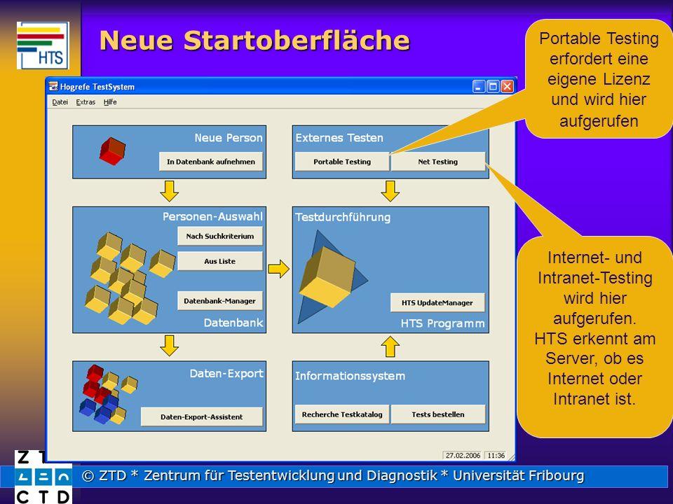 © ZTD * Zentrum für Testentwicklung und Diagnostik * Universität Fribourg Neue Startoberfläche Portable Testing erfordert eine eigene Lizenz und wird hier aufgerufen Internet- und Intranet-Testing wird hier aufgerufen.