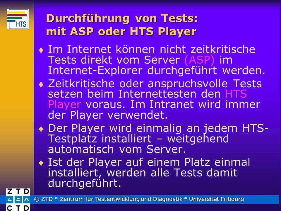 © ZTD * Zentrum für Testentwicklung und Diagnostik * Universität Fribourg Durchführung von Tests: mit ASP oder HTS Player Im Internet können nicht zeitkritische Tests direkt vom Server (ASP) im Internet-Explorer durchgeführt werden.