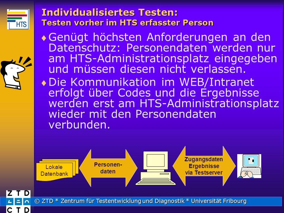 © ZTD * Zentrum für Testentwicklung und Diagnostik * Universität Fribourg Individualisiertes Testen: Testen vorher im HTS erfasster Person Genügt höchsten Anforderungen an den Datenschutz: Personendaten werden nur am HTS-Administrationsplatz eingegeben und müssen diesen nicht verlassen.