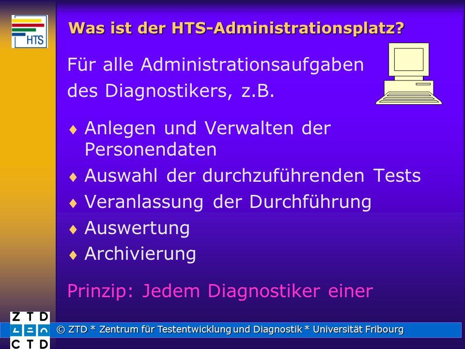 © ZTD * Zentrum für Testentwicklung und Diagnostik * Universität Fribourg Was ist der HTS-Administrationsplatz.