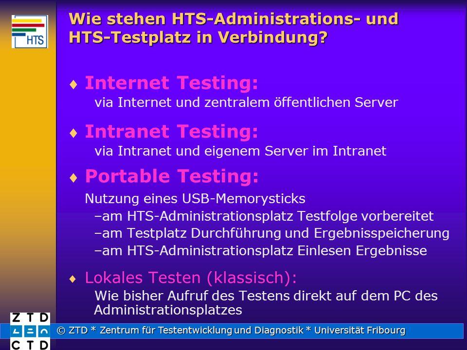 © ZTD * Zentrum für Testentwicklung und Diagnostik * Universität Fribourg Wie stehen HTS-Administrations- und HTS-Testplatz in Verbindung.