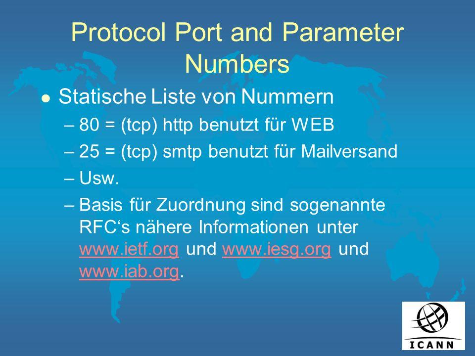 Protocol Port and Parameter Numbers l Statische Liste von Nummern –80 = (tcp) http benutzt für WEB –25 = (tcp) smtp benutzt für Mailversand –Usw.