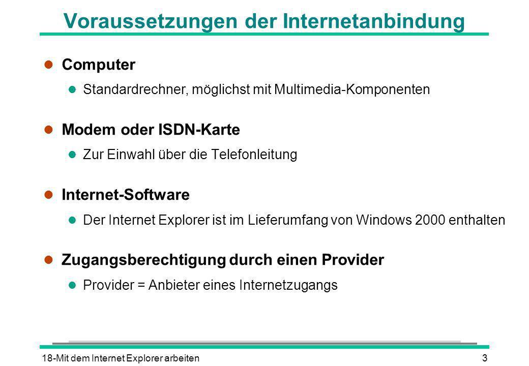 18-Mit dem Internet Explorer arbeiten3 Voraussetzungen der Internetanbindung l Computer l Standardrechner, möglichst mit Multimedia-Komponenten l Mode