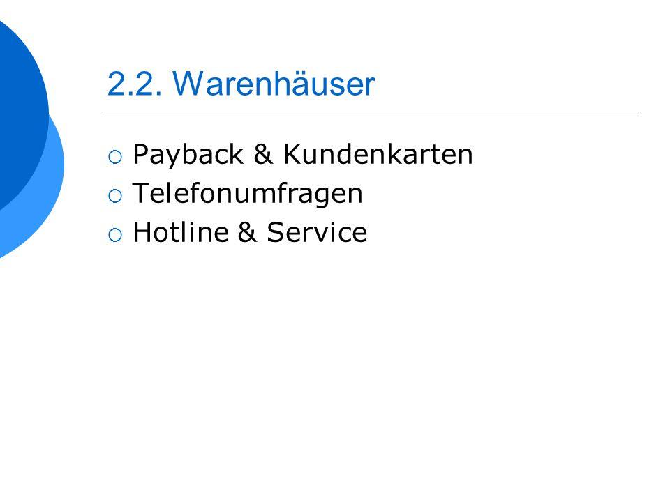 2.2. Warenhäuser Payback & Kundenkarten Telefonumfragen Hotline & Service