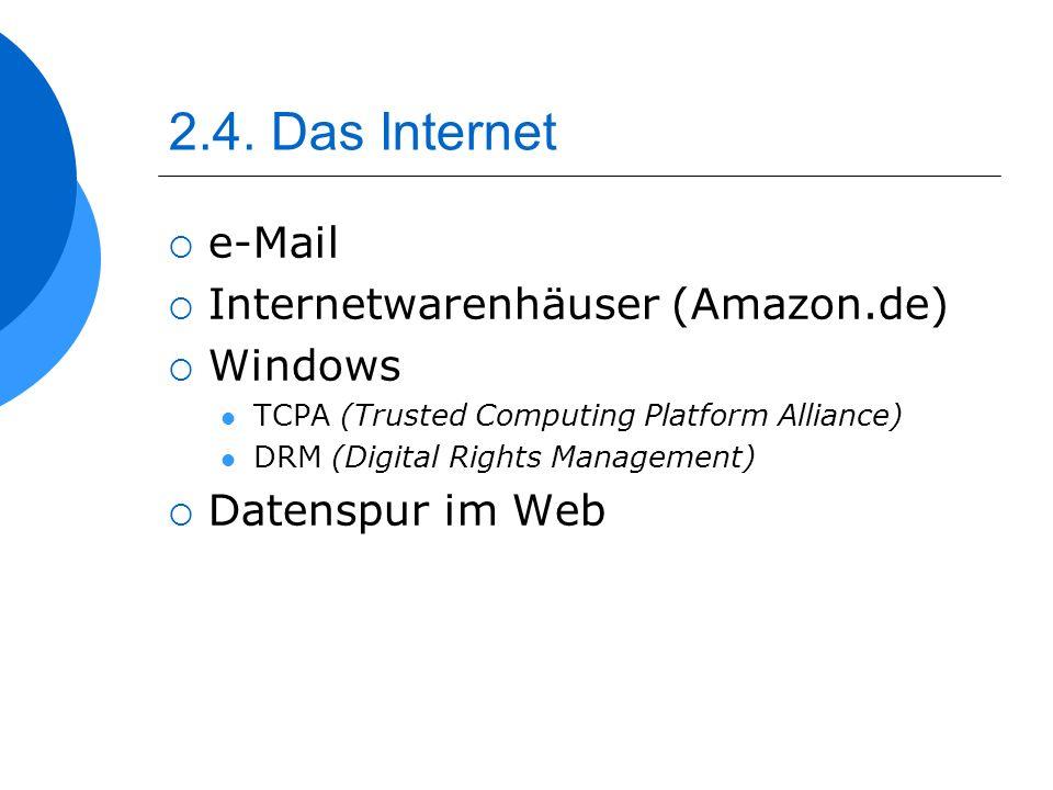 2.4. Das Internet e-Mail Internetwarenhäuser (Amazon.de) Windows TCPA (Trusted Computing Platform Alliance) DRM (Digital Rights Management) Datenspur