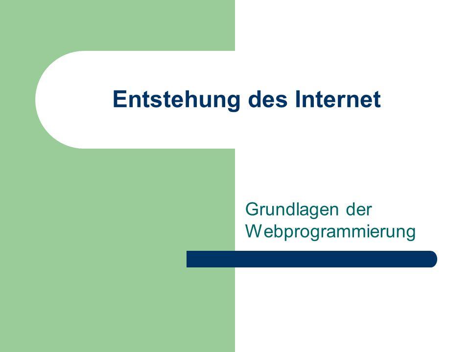 Entstehung des Internet 60er-Jahre: ARPA-Net (Advanced Research Projects Agency) 70er-Jahre: Wissenschaftler kommunizieren über ARPA-Net Einheitliches Datenübertragungsprotokoll: TCP/IP 80er-Jahre: neues Militärnetz (Milnet) wird vom ARPA-Net abgekoppelt ARPA-Net verbleibt für wissenschaftliches Arbeiten
