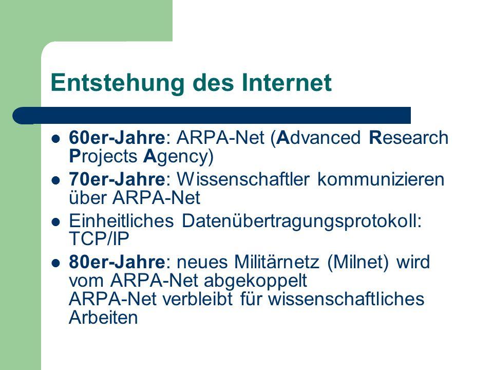 Entstehung des Internet 60er-Jahre: ARPA-Net (Advanced Research Projects Agency) 70er-Jahre: Wissenschaftler kommunizieren über ARPA-Net Einheitliches