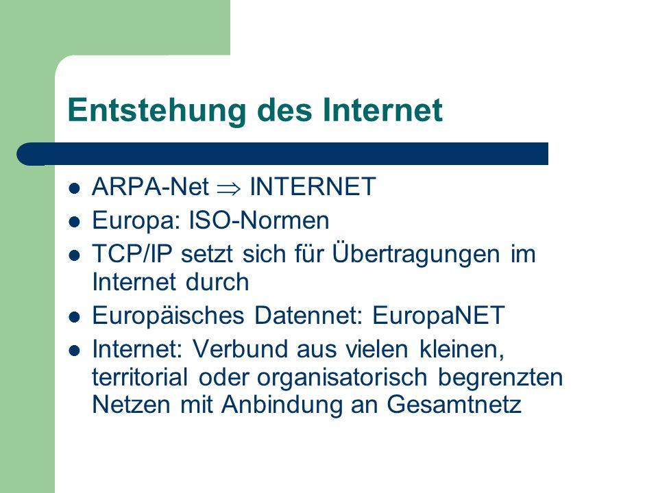 TCP / IP TCP: Transmission Control Protocol (Übertragungskontrolle) IP: Internet Protocol (Adressierung) gemeinsame Nenner des gesamten Datenverkehrs im Internet ipconfig /all