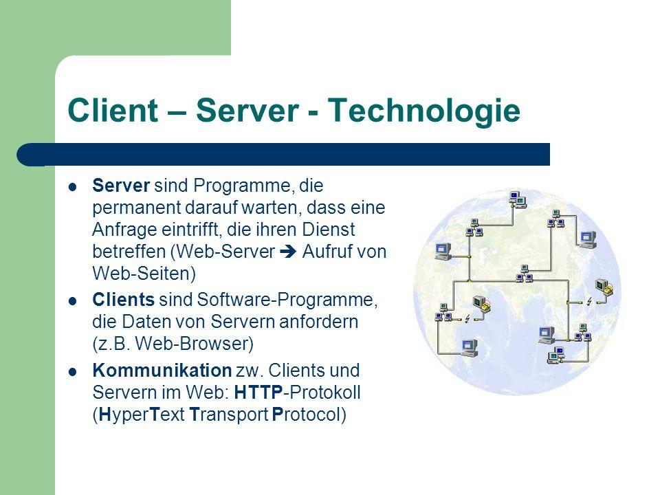 Client – Server - Technologie Server sind Programme, die permanent darauf warten, dass eine Anfrage eintrifft, die ihren Dienst betreffen (Web-Server