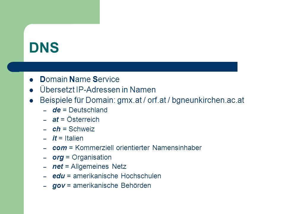 DNS Domain Name Service Übersetzt IP-Adressen in Namen Beispiele für Domain: gmx.at / orf.at / bgneunkirchen.ac.at – de = Deutschland – at = Österreic