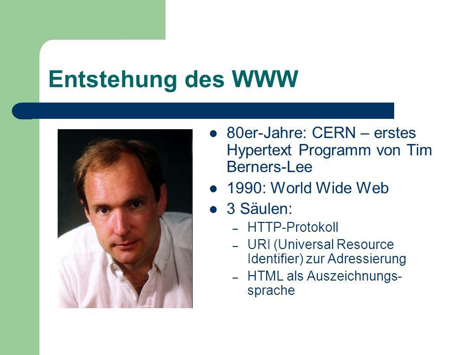 Entstehung des WWW 80er-Jahre: CERN – erstes Hypertext Programm von Tim Berners-Lee 1990: World Wide Web 3 Säulen: – HTTP-Protokoll – URI (Universal R
