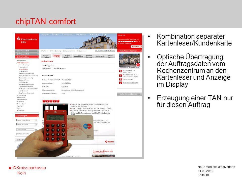 S-Kreissparkasse Köln 11.03.2010 Neue Medien/Direktvertrieb Seite 10 chipTAN comfort Kombination separater Kartenleser/Kundenkarte Optische Übertragun