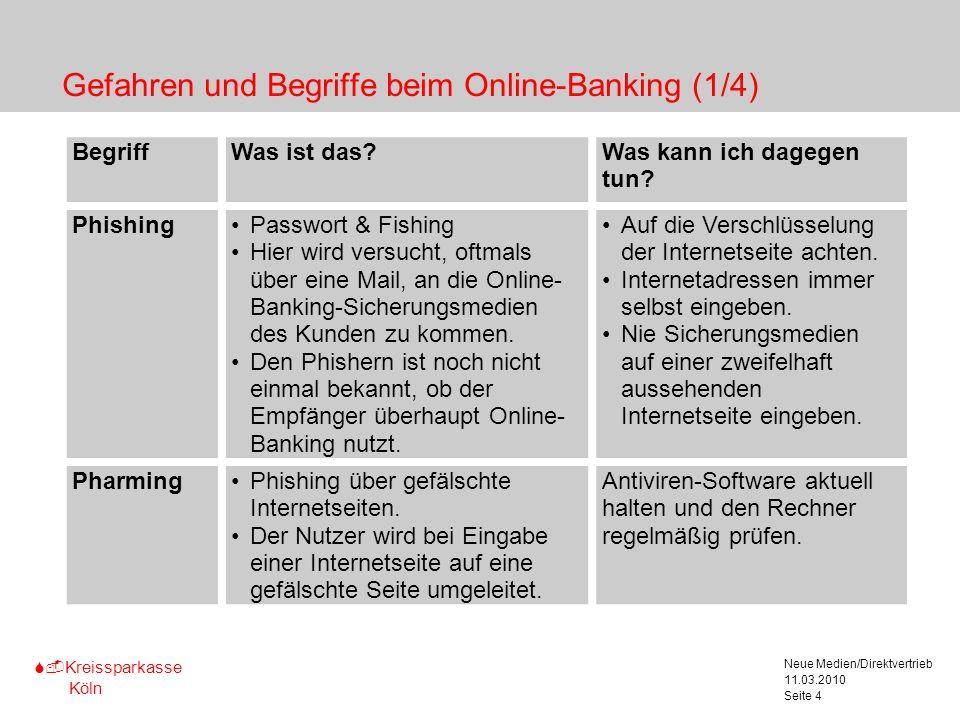 S-Kreissparkasse Köln 11.03.2010 Neue Medien/Direktvertrieb Seite 4 Gefahren und Begriffe beim Online-Banking (1/4) Marginalspalte für Texterläute- ru