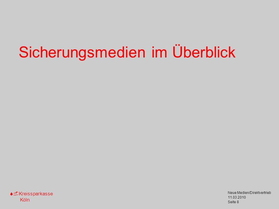 S-Kreissparkasse Köln 11.03.2010 Neue Medien/Direktvertrieb Seite 9 Sicherungsmedien im Überblick TAN-Verfahren Privatkunden Geringer Zahlungsverkehr Signatur-Verfahren Geschäfts-/Firmenkunden Hoher Zahlungsverkehr iTAN (Papierliste) smsTAN (Handy) chipTAN (Kontokarte, TAN- Generator) HBCI-Chipkarte (Chipkarte, ZV-Software, Chipkartenleser) EBICS (Chipkarte, ZV-Software, Chipkartenleser) Elektronische Signatur (Chipkarte, Signatur-Software, Chipkartenleser) Bei allen Sicherungsmedien wird ein Online-Zugang benötigt.