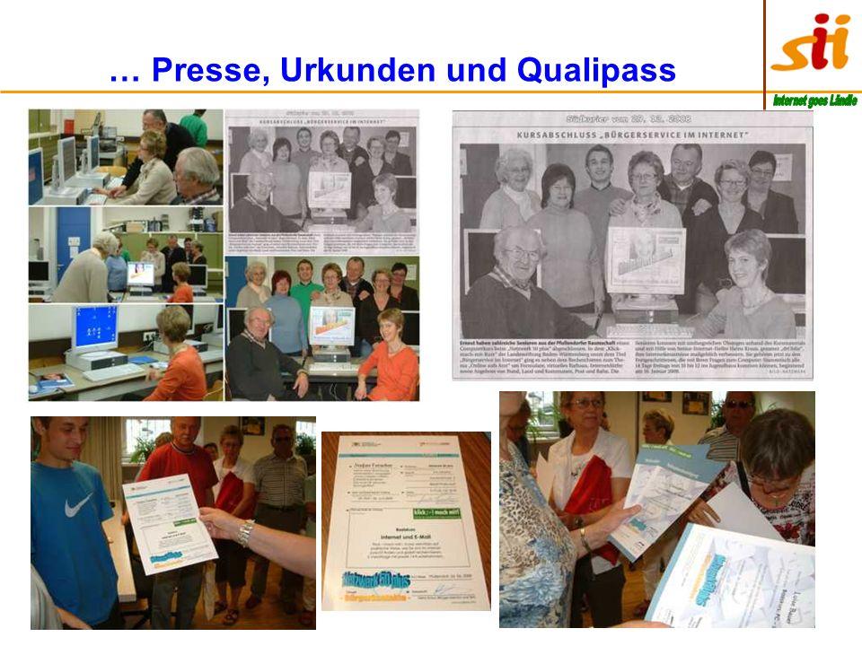 … Presse, Urkunden und Qualipass