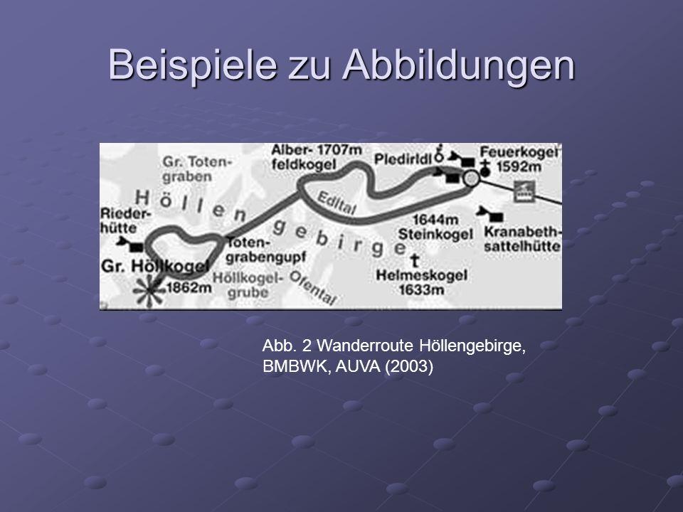Abb. 2 Wanderroute Höllengebirge, BMBWK, AUVA (2003) Beispiele zu Abbildungen