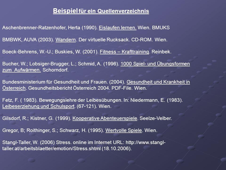 Aschenbrenner-Ratzenhofer, Herta (1990). Eislaufen lernen. Wien. BMUKS BMBWK, AUVA (2003). Wandern. Der virtuelle Rucksack. CD-ROM. Wien. Boeck-Behren