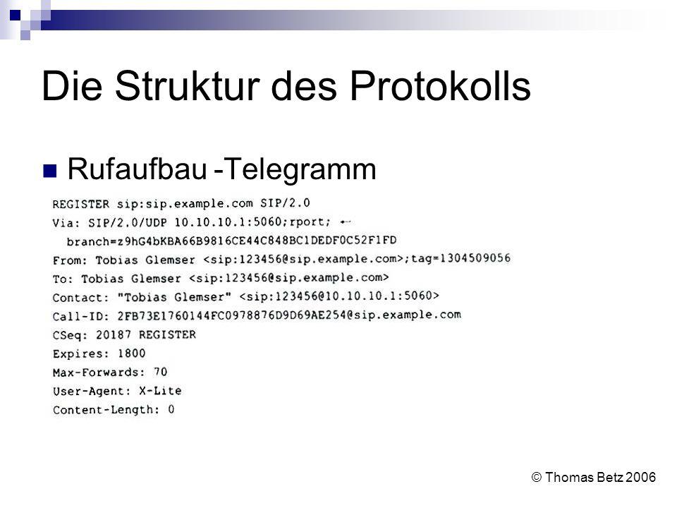 Die Struktur des Protokolls Rufaufbau -Telegramm © Thomas Betz 2006