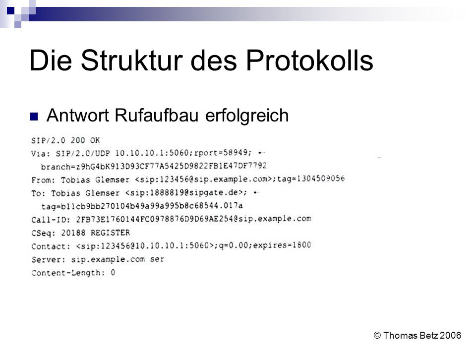 Die Struktur des Protokolls Antwort Rufaufbau erfolgreich © Thomas Betz 2006