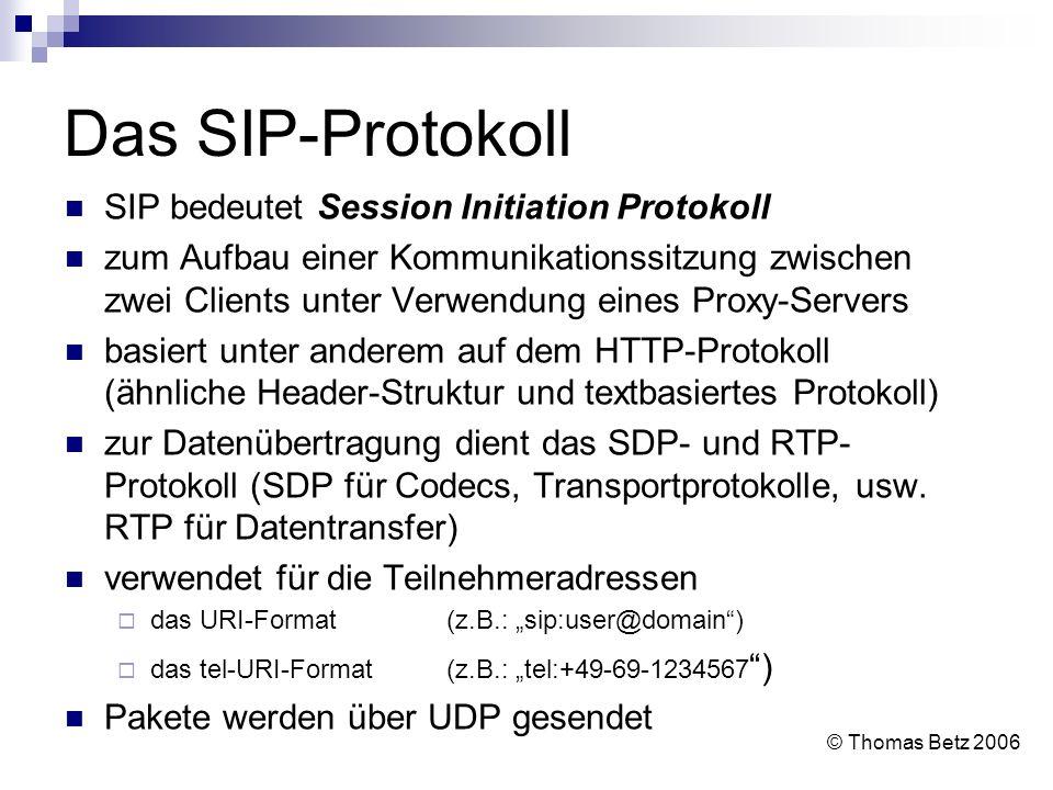 Das SIP-Protokoll SIP bedeutet Session Initiation Protokoll zum Aufbau einer Kommunikationssitzung zwischen zwei Clients unter Verwendung eines Proxy-