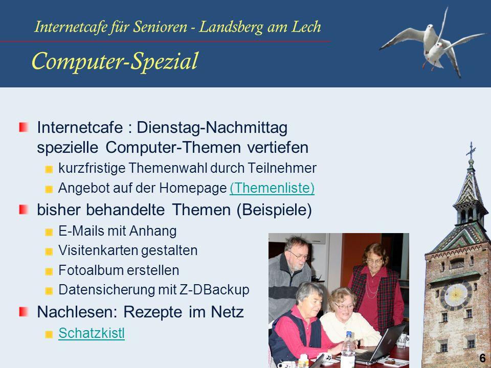 Internetcafe für Senioren - Landsberg am Lech 6 Computer-Spezial Internetcafe : Dienstag-Nachmittag spezielle Computer-Themen vertiefen kurzfristige T