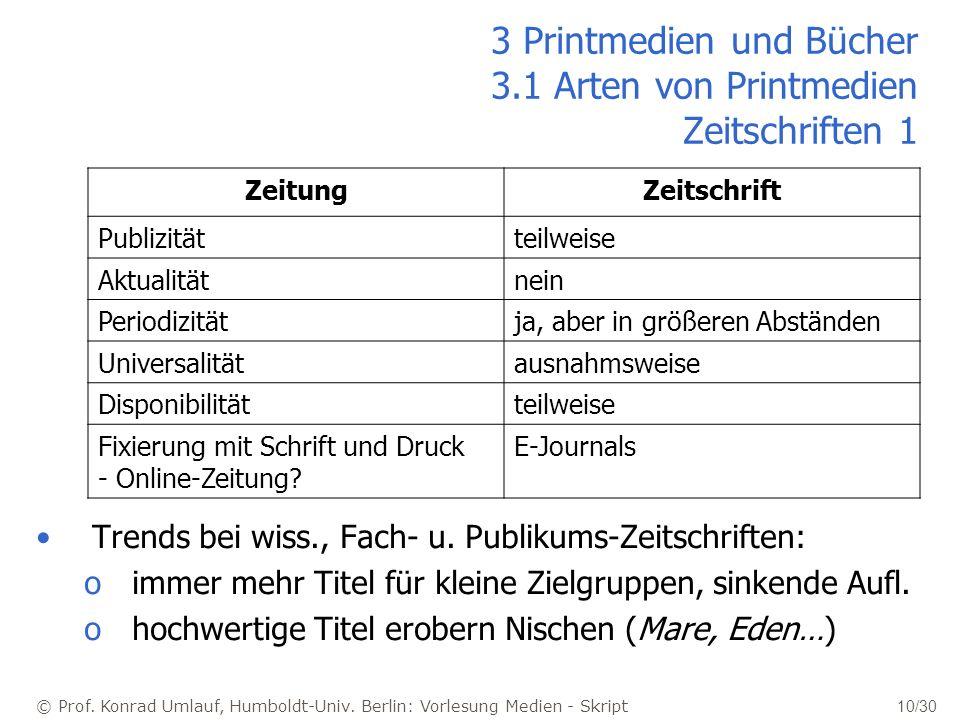© Prof. Konrad Umlauf, Humboldt-Univ. Berlin: Vorlesung Medien - Skript 10/30 3 Printmedien und Bücher 3.1 Arten von Printmedien Zeitschriften 1 Trend