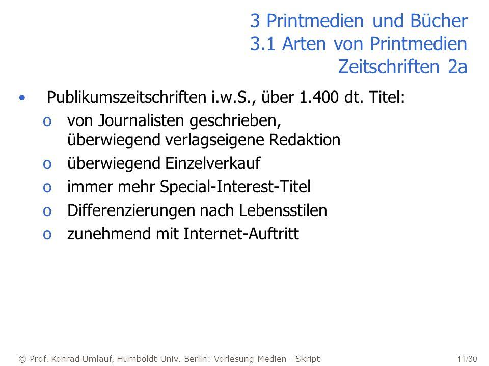 © Prof. Konrad Umlauf, Humboldt-Univ. Berlin: Vorlesung Medien - Skript 11/30 3 Printmedien und Bücher 3.1 Arten von Printmedien Zeitschriften 2a Publ