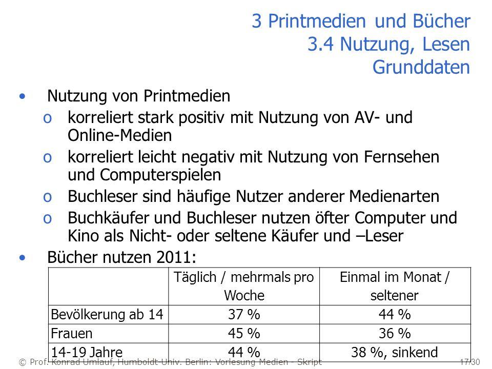© Prof. Konrad Umlauf, Humboldt-Univ. Berlin: Vorlesung Medien - Skript 17/30 Nutzung von Printmedien okorreliert stark positiv mit Nutzung von AV- un