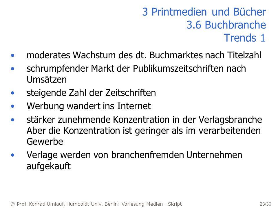 © Prof. Konrad Umlauf, Humboldt-Univ. Berlin: Vorlesung Medien - Skript 23/30 moderates Wachstum des dt. Buchmarktes nach Titelzahl schrumpfender Mark