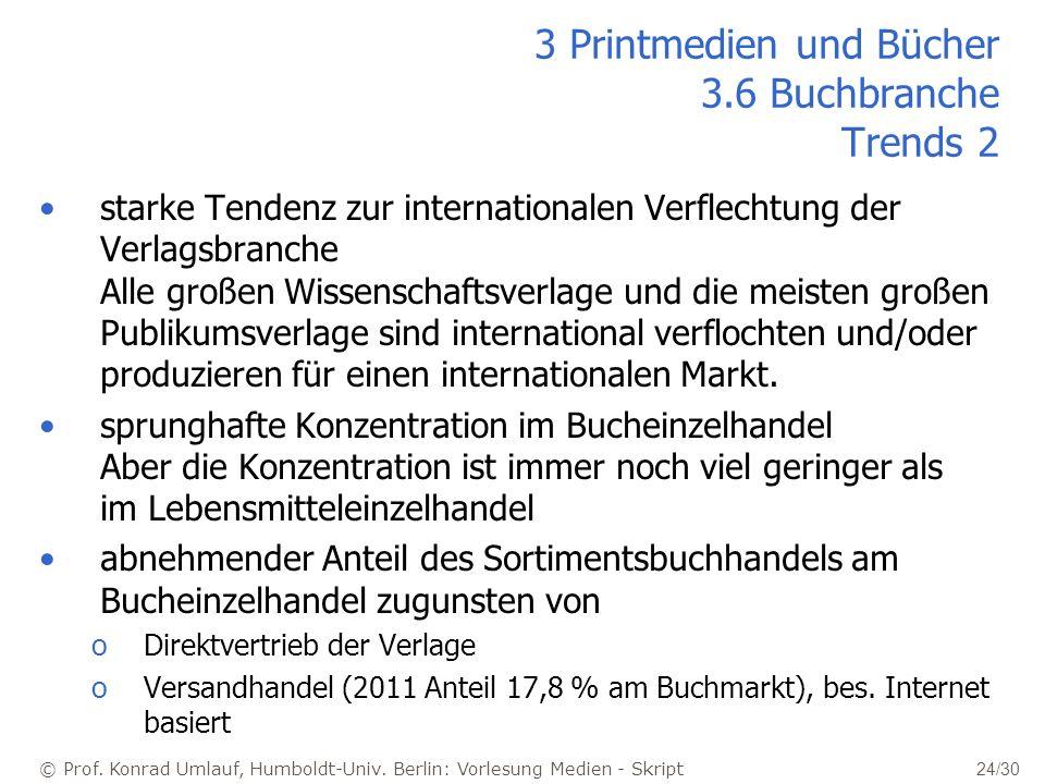 © Prof. Konrad Umlauf, Humboldt-Univ. Berlin: Vorlesung Medien - Skript 24/30 starke Tendenz zur internationalen Verflechtung der Verlagsbranche Alle