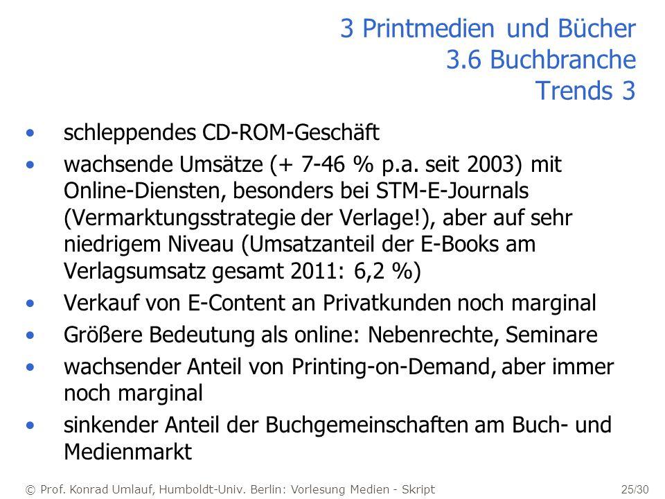© Prof. Konrad Umlauf, Humboldt-Univ. Berlin: Vorlesung Medien - Skript 25/30 schleppendes CD-ROM-Geschäft wachsende Umsätze (+ 7-46 % p.a. seit 2003)