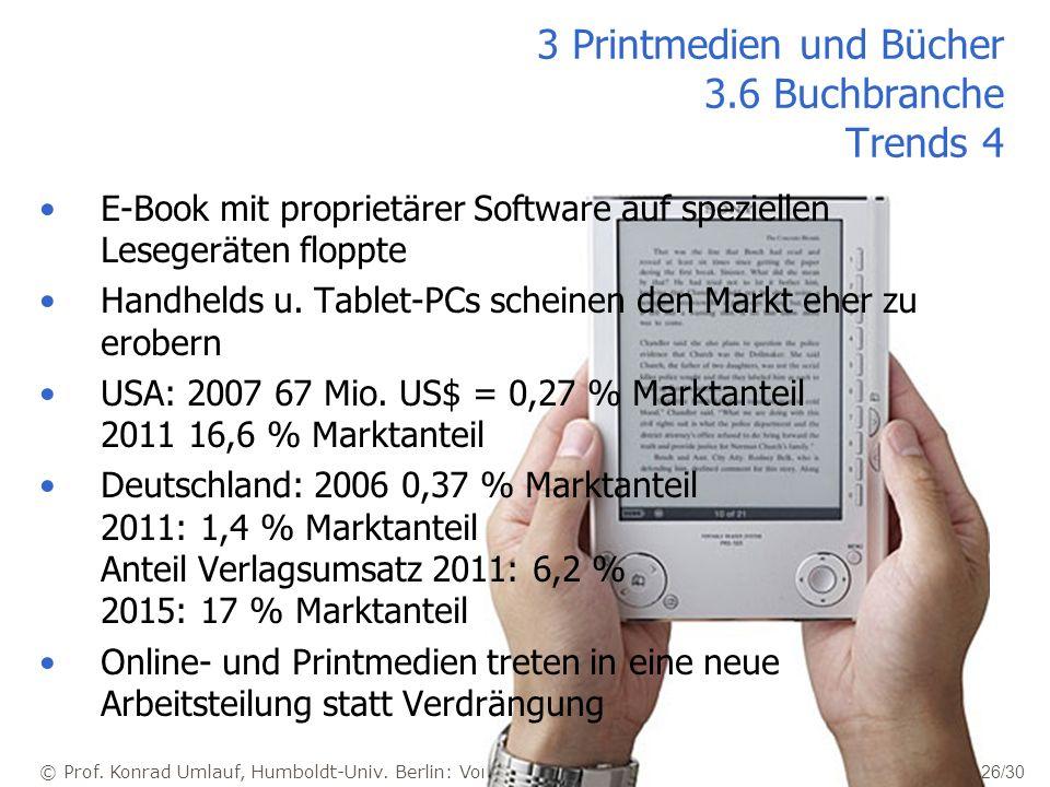 © Prof. Konrad Umlauf, Humboldt-Univ. Berlin: Vorlesung Medien - Skript 26/30 3 Printmedien und Bücher 3.6 Buchbranche Trends 4 E-Book mit proprietäre