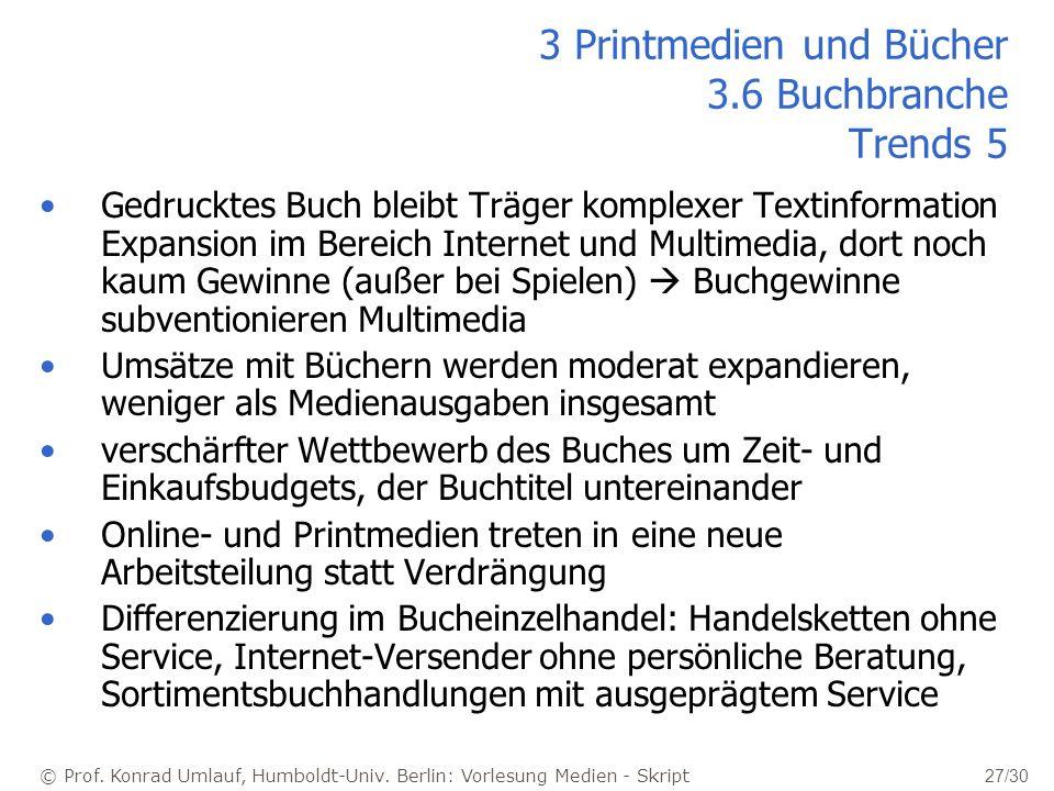© Prof. Konrad Umlauf, Humboldt-Univ. Berlin: Vorlesung Medien - Skript 27/30 Gedrucktes Buch bleibt Träger komplexer Textinformation Expansion im Ber