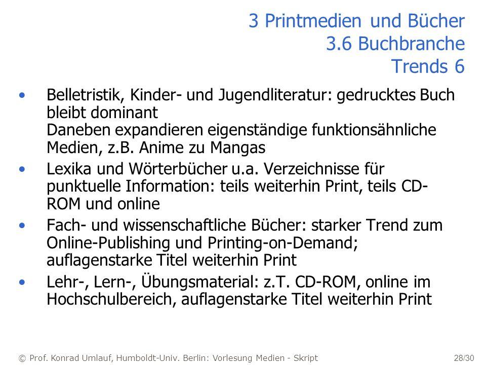 © Prof. Konrad Umlauf, Humboldt-Univ. Berlin: Vorlesung Medien - Skript 28/30 Belletristik, Kinder- und Jugendliteratur: gedrucktes Buch bleibt domina